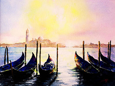 Wall Art - Painting - Gondolas By Twilight by Carrie McKenzie