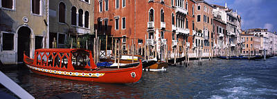 Gondolas In A Canal, Grand Canal Art Print by Panoramic Images