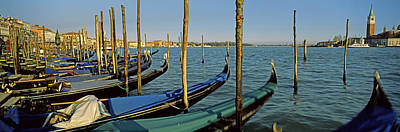 Gondolas In A Grand Canal, Venice Art Print by Panoramic Images