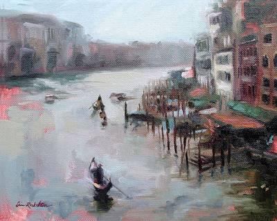 Painting - Gondolas In Twilight by Erin Rickelton