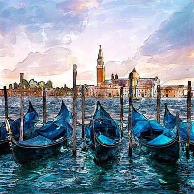 Gondolas In Venice Watercolor Art Print by Marian Voicu