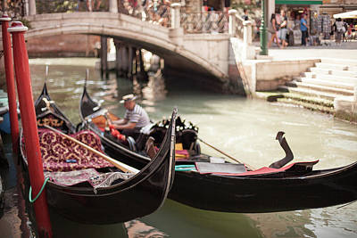 Photograph - Gondolas Moored On Grand Canal by Images By Fabio