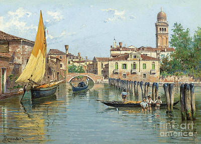 Venice Painting - Gondolas On A Canal In Venice by Celestial Images