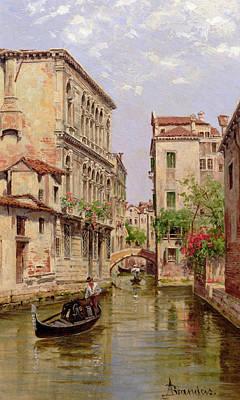 Gondolas On A Venetian Canal Art Print by Antonietta Brandeis