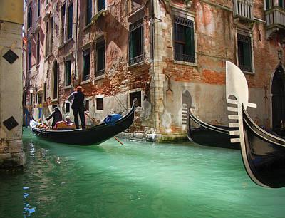 Photograph - Gondolas On Canal by Grant Faint