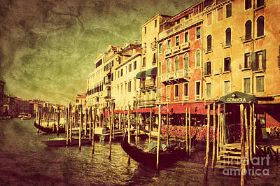 Photograph - Gondolas On Grand Canal In Venice Italy by Michal Bednarek