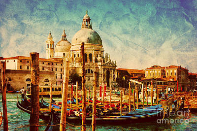 Photograph - Gondolas On Grand Canal In Venice by Michal Bednarek