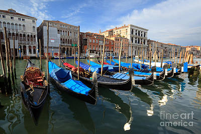 Gondola Photograph - Gondolas On The Grand Canal by Matteo Colombo