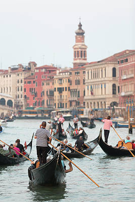 Oar Photograph - Gondolas On The Grande Canal by Chris Mellor