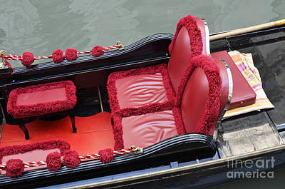 Photograph - Gondolas Red Seats By Canal by Sami Sarkis