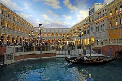 Photograph - Gondolas Rides Inside The Venetian Hotel by Willie Harper