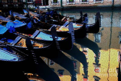 Photograph - Gondolas Through Crackled Glass by Jacqueline M Lewis