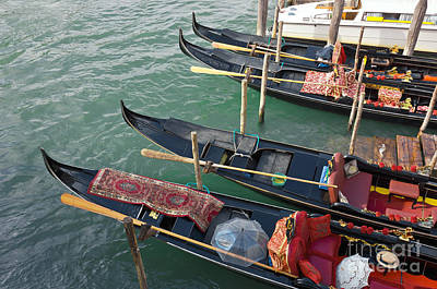 Water Vessels Photograph - Gondolas Waiting For Tourists In Venice by Kiril Stanchev