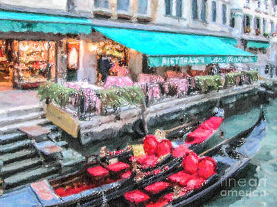 Gondolas Waiting Print by Liz Leyden