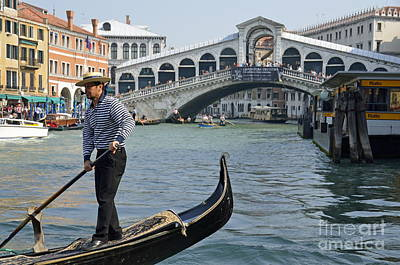 Gondolier On Gondola By Rialto Bridge Art Print by Sami Sarkis