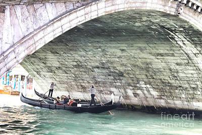Gondolier Under The Rialto Bridge Print by Gabriela Insuratelu