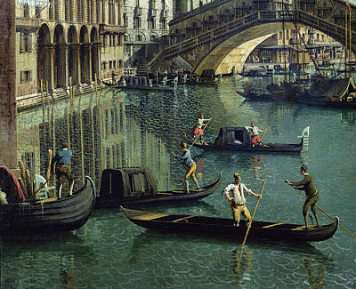 Photograph - Gondoliers Near The Rialto Bridge, Venice Oil On Canvas Detail Of 155335 by Canaletto