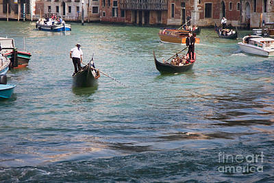 Gondoliers On The Grand Canal Print by Gabriela Insuratelu