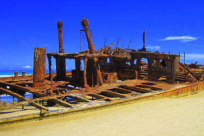 Blue Pirate Ships Landscape Photograph - Gone But Not Forgotten by Ramona Johnston