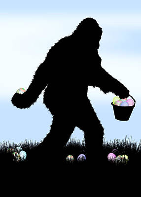 Gone Easter Squatchin Art Print by Gravityx9  Designs