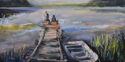 Waterscape Painting - Gone Fishin' by Donna Tuten