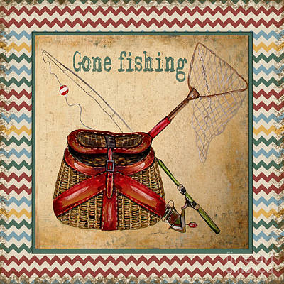 Fishing Pole Painting - Gone Fishing-chevron by Jean Plout