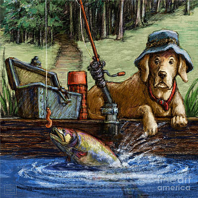 Retrievers Mixed Media - Gone Fishing by Kathleen Harte Gilsenan