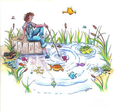 Gone Fishing Art Print by Kelly Walston