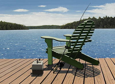 Gone Fishing Aka Fishing Chair Art Print