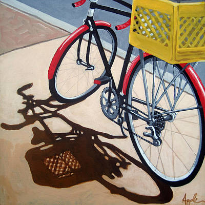 Gone Shopping Bicycle Art Print by Linda Apple