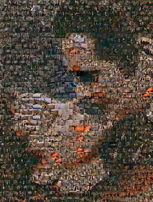 Gone With The Wind Scene Mosaic Art Print by Paul Van Scott