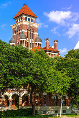Shiner Photograph - Gonzales County Courthouse Tower Clock - Gonzales Texas by Silvio Ligutti