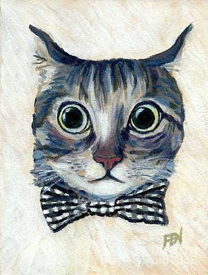 Good Boy Cat With A Checked Bowtie Art Print