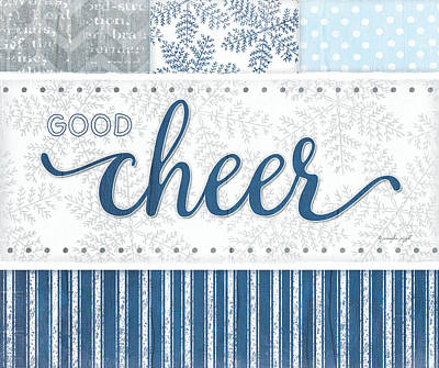 Holiday Painting - Good Cheer Silver Blue by Jennifer Pugh