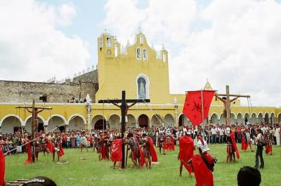 Yucatan Painting - Good Friday Enactment Mexico by Robert Gerdes