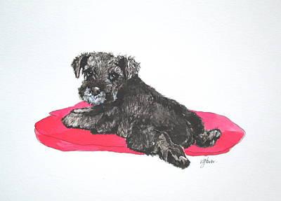 Schnauzer Puppy Painting - Good Girl by Victoria Glover