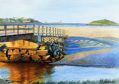 North Sea Painting - Good Harbor Footbridge by Deb  Schradieck