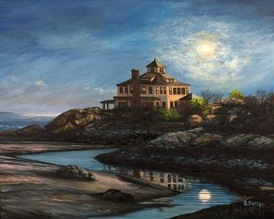 Sea Moon Full Moon Painting - Good Harbor Moon by Eileen Patten Oliver