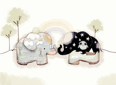 Special Occasion Digital Art - Good Karma Elephants by Karin Taylor