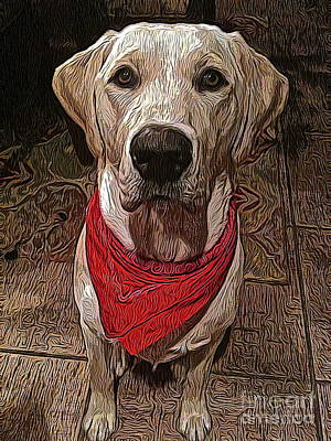 Labrador Digital Art - Good Mojo by Jen  Brooks Art