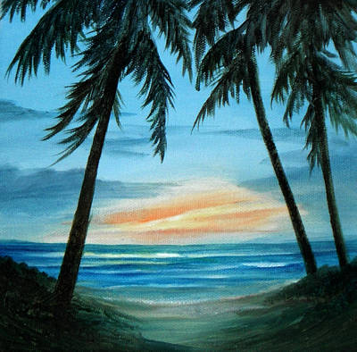 Good Morning Sunshine - Seascape Sunrise And Palm Trees By Rosie Brown Art Print by Rosie Brown