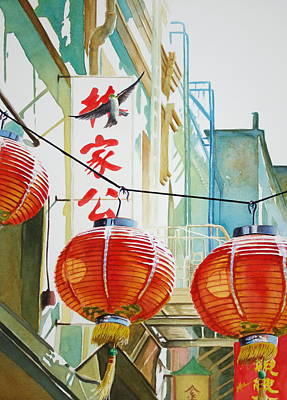 Chinese Lanterns Painting - Good News In Chinatown by Greg and Linda Halom