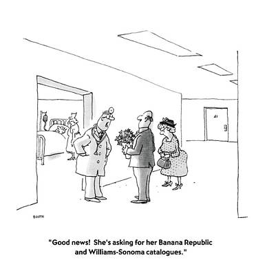 Banana Drawing - Good News!  She's Asking For Her Banana Republic by George Booth