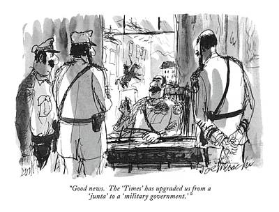 South America Drawing - Good News.  The 'times' Has Upgraded by Joseph Mirachi