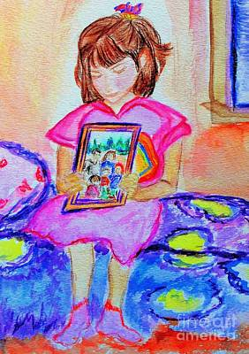 Olivia Painting - Good Night Family-love Olivia by Helena Bebirian