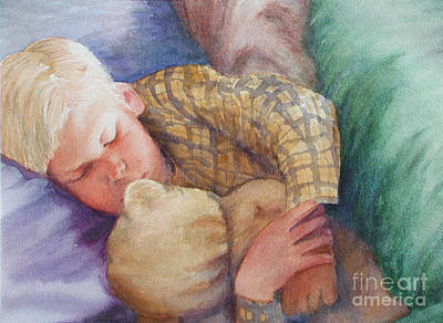 Teddy Bear Watercolor Painting - Good Night White Bear by Laura Sapko
