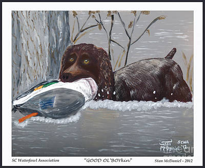 Water Retrieve Painting - Good Ol' Boykin by Stan McDaniel