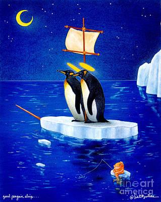 Iceberg Painting - Good Penguin Ship... by Will Bullas