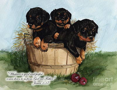 Painting - Good Rotty Pups  by Nancy Patterson