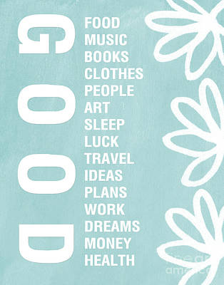Good Things Blue Art Print by Linda Woods